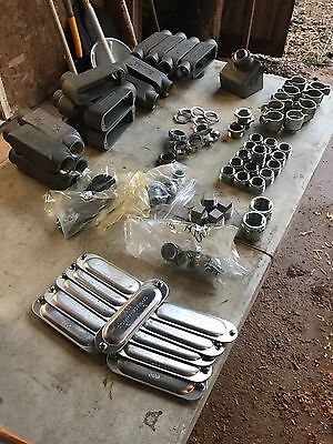 """Lot Of Crouse-Hinds , T&b, Steel City , American.   1""""  Conduit Fittings"""