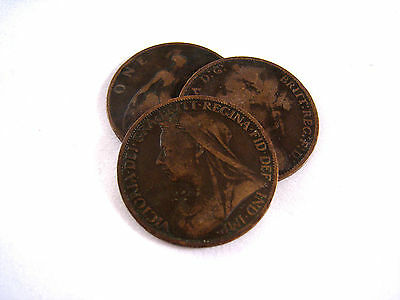 Lot of 3 old British Penny Coins  - Victoria Pennies