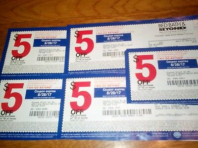5 x $5 OFF any purchase of $15 or more @ BED BATH & BEYOND, exp 8/28/2017