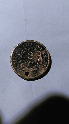1864 US 2 Cent Coin Large Motto