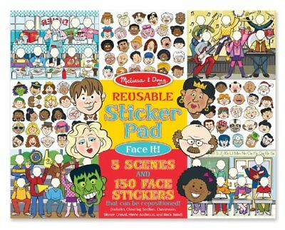Melissa & Doug Reusable Sticker Pad: Face It 150 Stickers and 5 Scenes, New