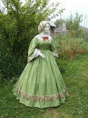 Civil War/Victorian/19th Century Day Dress/Gown/Antique Lace Collar/Undersleeves