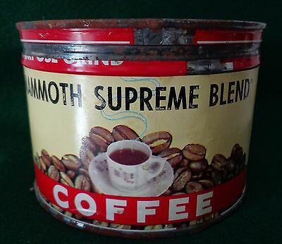 Vintage, MAMMOTH MILLS SUPREME BLEND, One Pound Coffee Can, with Cover