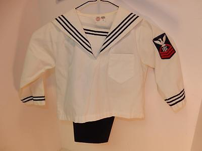 Vintage Boy's Sailor Suit 1950S Outfit Size 3 Or For Large Doll Anchor Buttons