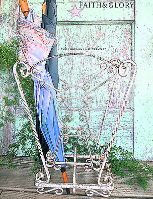 OLD Vintage Antique Ornate Scrolly Chippy Rusty Iron Umbrella Stand or Planter