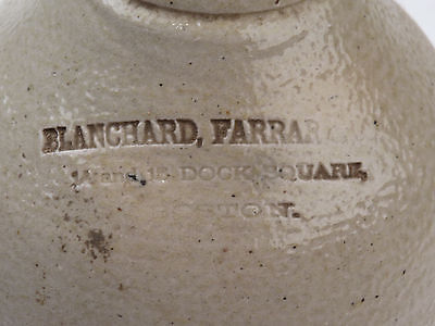 Antique Stoneware Pottery Jug Boston MA Blanchard Farrar and Co Dock Square