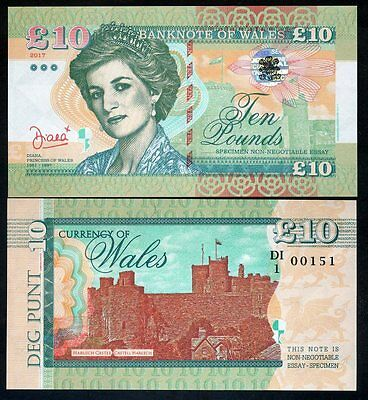 Wales (Great Britain), 10 Pounds, 2017, Private Issue, UNC - Princes Diana