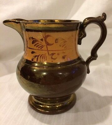 Copper Luster lusterware lustreware Pitcher Pottery Creamer Antique Peach Vintag