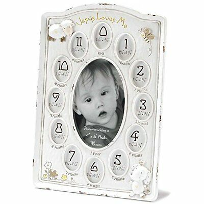 Dicksons Jesus Loves Me First Year Photo Frame White, New