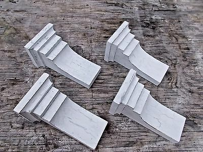 Set of 4 Primitive Style Wood Corbels.. Weathered / Distressed White (#26W)