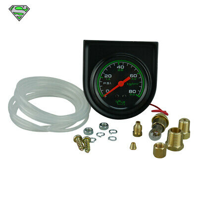 "TRISCO OIL PRESSURE GAUGE 2"" 52MM 72"" NYLON TUBING and 1/2"" NPT ADAPTOR"