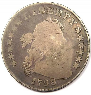 1799/8 Draped Bust Silver Dollar $1 - Good Details  - Rare Overdate Coin!