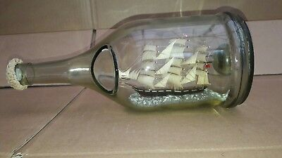Vintage 3 Mast Sailing Ship In A Bottle Dimpled French Cognac Bottle Beautiful