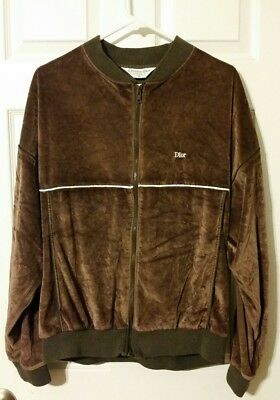 CHRISTIAN DIOR Vintage Mens TRACK JACKET XL vtg velour supreme stussy look.