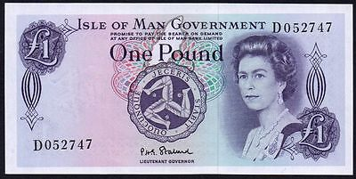 1972 ISLE OF MAN GOVERNMENT £1 BANKNOTE * D 052747 * gEF *