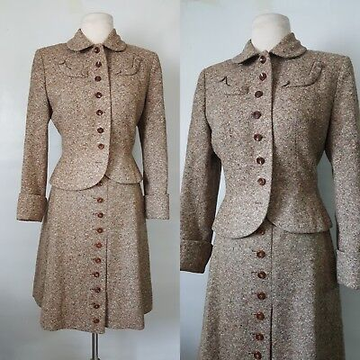 1940s 40s hand tailored Miss Raleigh tweed suit jacket skirt M