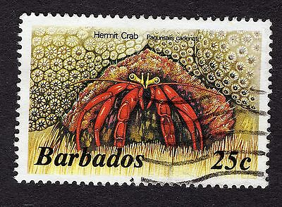 1985 Barbados 25c Hermit crab SG799b GOOD USED R31621