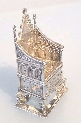 1910 Silver miniature coronation chair of King George V perfect condition
