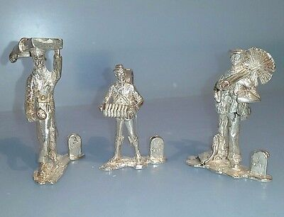 """3 Silver miniature figures place card holders """" Victorian street cries TC Jarvis"""