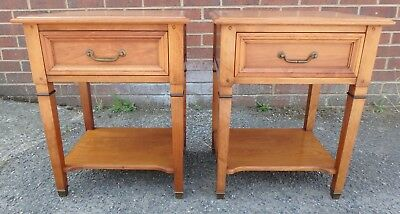 Pair 2 Grange Directoire French solid cherry wood 1 drawer bedside tables chests