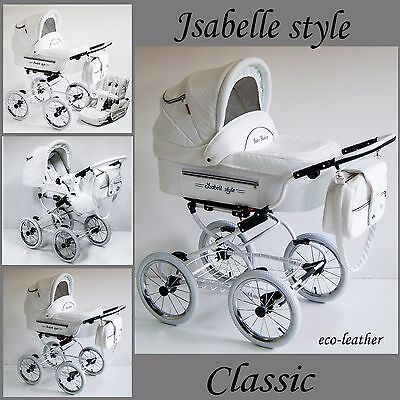 White Pram pushchair baby retro classic eco-leather 2 in1 Travel System