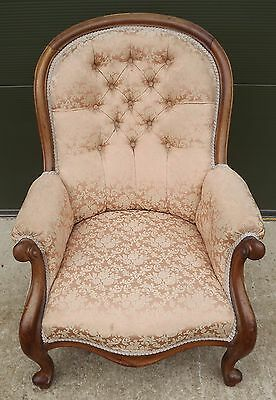 Antique Victorian Mahogany-Framed Button-Backed Armchair Chair Serpentine Shape