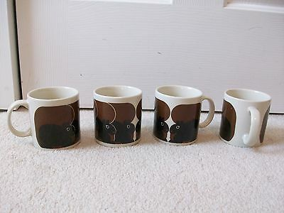 SET of 4 Taylor & Ng Vintage Minimals Brown SQUIRRELS Coffee Mugs -1983