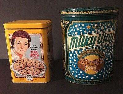 Nestle Toll House Chocolate Chips Cookies & Milky Way collectible Tin Containers