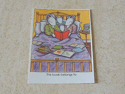 23  Pre-Gummed Bookplates Labels KIDSTAMPS mouse reading~ this book belongs to~