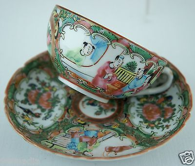 Antique Chinese Cup Saucer Rose Medallion Famille Mandarin Figurines # 1