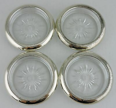 Vintage Silverplate & Crystal Or Glass Coaster Small Dish Set 4 Silver Plated
