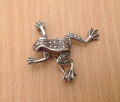 """Vintage """"925"""" Silver & Marcasite Frog Brooch - In Gift Box"""