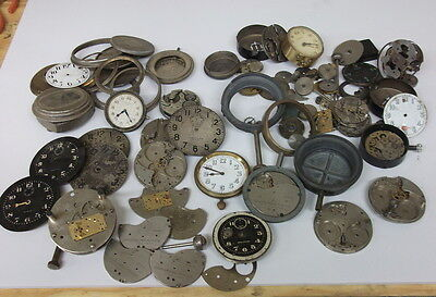 Extra Large Group Of  8-Day Car Clocks Parts, Dials, Cases, Movements,Military