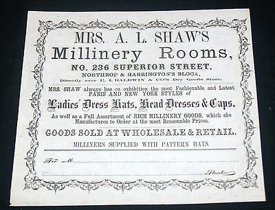 Antique Mrs A.l. Shaw's Millinery Rooms Ladies Hats Advertising Print Cleveland