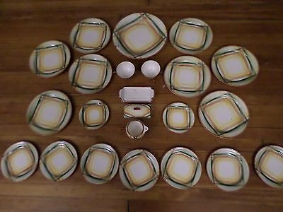 Vernonware HOMESPUN Under Glaze Hand Painted 23 piece China Set w/ Butter Dish