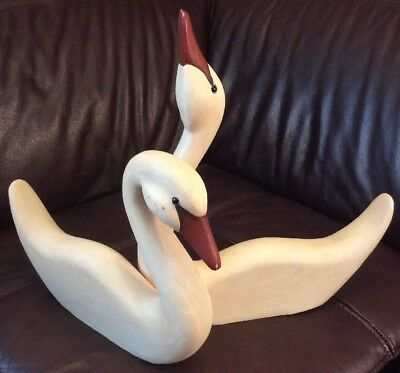 James Haddon Folk Art Sculptures 2 Swan Or Geese Wood Carvings Artist Signed