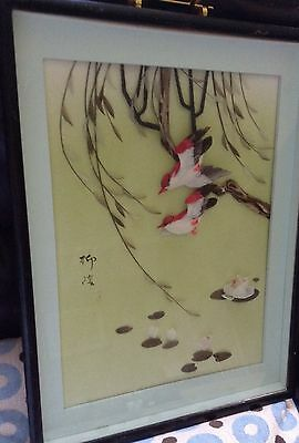 Beautiful Japanese? Shadow Box 3D Feather Art - Birds/flowers