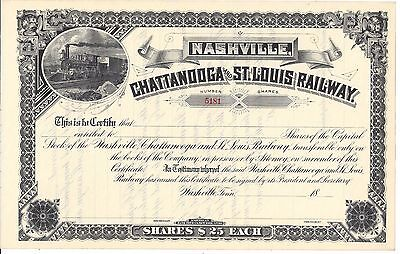 Nashville, Chattanooga And St. Louis  Railway.....1800's Unissued  Certificate
