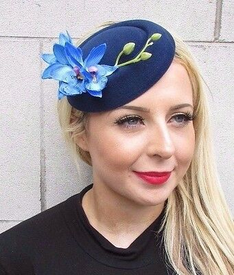 Navy Bright Blue Orchid Flower Pillbox Hat Fascinator Races Headpiece Clip 3440