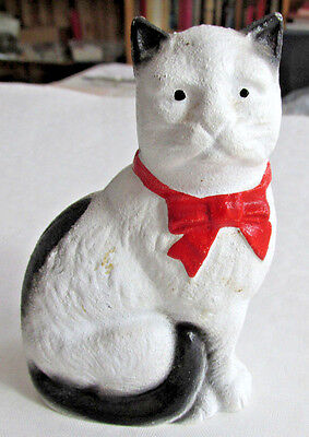 Vintage Grey Iron Casting White Cat With Bow Tie Cast Iron Bank, Still Bank