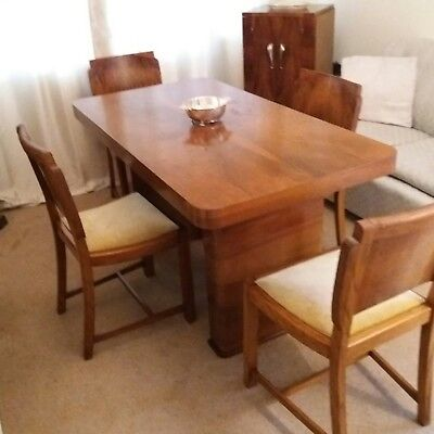 Stylish Art deco 1938 walnut dining room table and four chairs