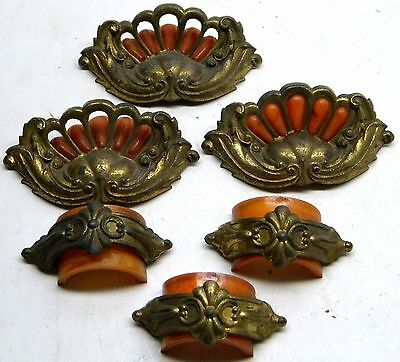 "6 Unusual Vintage Dresser Door Handles Pulls 4"" & 2 5/8"" Centers With Inserts"