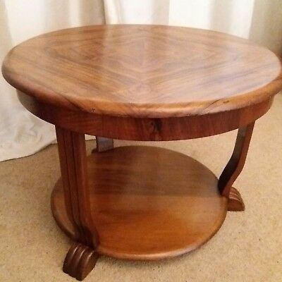 Art deco 1930s walnut coffee table with odeon style legs