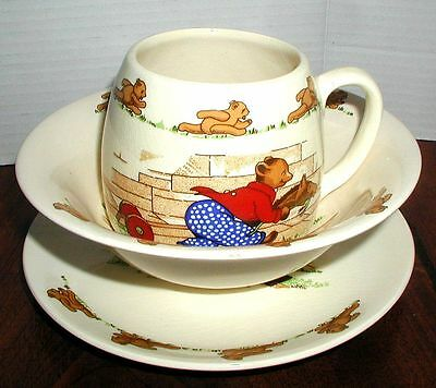 Crown Winsor Pottery English Three Piece Children's Dish Set with Bears