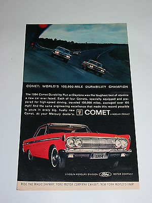 Vtg 1964 COLOR Ad Red Ford Comet World's Fair