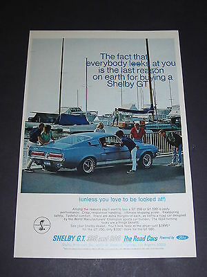 Vtg 1967 COLOR Ad Ford Vail Blue SHELBY G.T. 500 ORIGINAL