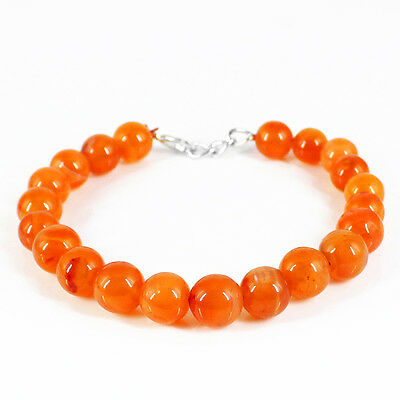 119.00 Cts Natural Round Shape Rich Orange Carnelian Untreated Beads Bracelet