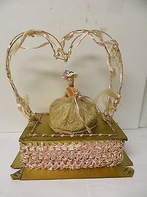 Antique Large Candy Valentine Box with Paper Mache Doll Lace Dress Pink Ribbbon