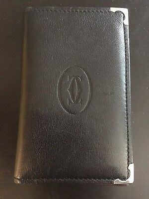 Black Leather Cartier Card Case/ Business Card Holder Good Condition