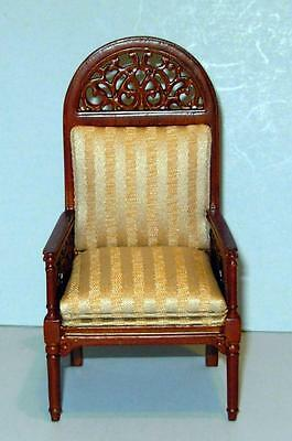 Jbm Miniatures Round Top Arm Chair #845 Carved Dollhouse Furniture  Miniatures